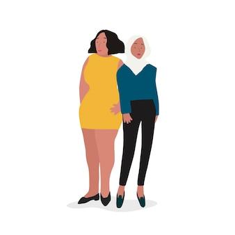 Dwa różne niezależne kobiety wektor