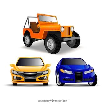 Dwa samochody i ciągnik