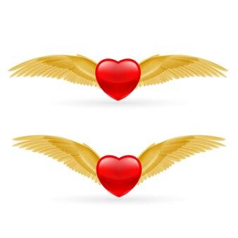 Dwa serca z skrzydłami