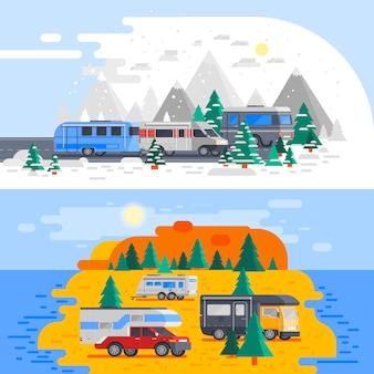 Dwa składy pojazdów rekreacyjnych