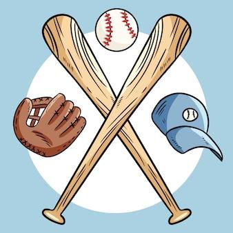 Dwa skrzyżowane kije baseballowe i piłka, logo sportowe ikony