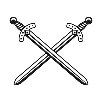 Dwa skrzyżowane miecze broń wektor monochromatyczny projekt obiektu lub element graficzny na białym tle