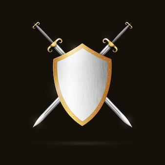Dwa skrzyżowane miecze za tarczą.