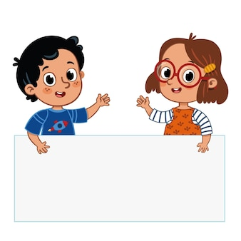 Dwa słodkie dzieciaki trzymają transparent ilustracja wektorowa