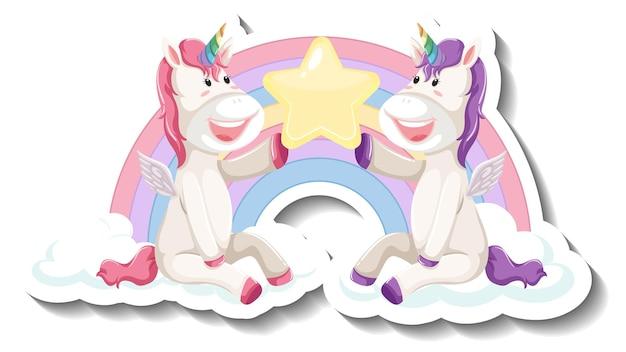 Dwa słodkie jednorożce trzymające razem gwiazdę naklejkę z kreskówek