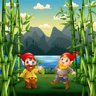 Dwa słodkie krasnoludy na ilustracji ogrodu