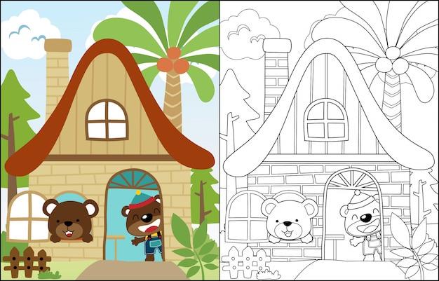 Dwa słodkie kreskówka niedźwiedź w słodkim domu