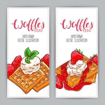 Dwa słodkie pionowe banery gofry i truskawki. ręcznie rysowana ilustracja