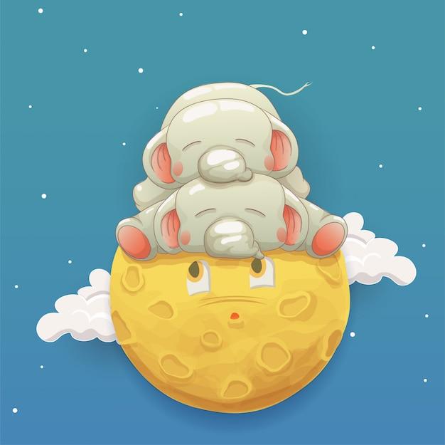 Dwa słodkie słonie dziecko śpi na księżycu