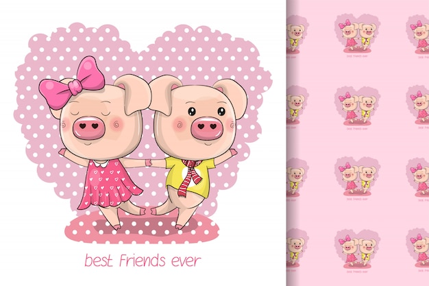 Dwa słodkie świnki kreskówka na tle serca dla dzieci