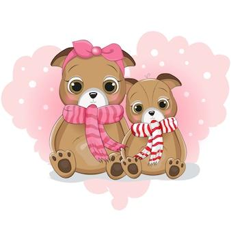 Dwa słodkie szczeniak kreskówka na tle serca