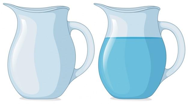 Dwa słoiki z wodą i bez wody