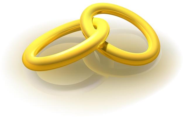 Dwa splecione złote pierścienie - kolorowa ilustracja na białym tle odblaskowym, wektor
