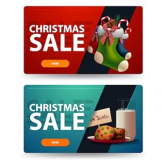 Dwa świąteczne sztandary ze zniżkami z ciasteczkami ze szklanką mleka na mikołaja i pończochy świąteczne.