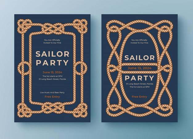 Dwa szablony plakatów morskich. granica ramy liny.