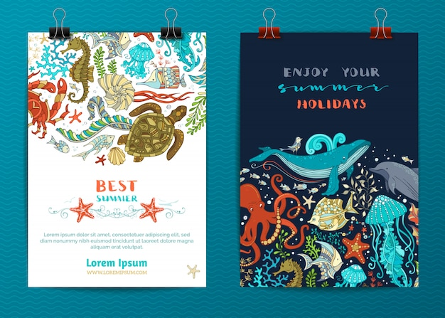 Dwa szablony plakatów życia morskiego. kreskówka morskie zwierzęta i rośliny.