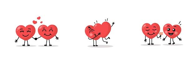 Dwa szczęśliwe serca charakter na białym tle. kolekcja serce kreskówka.