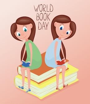 Dwa szczęśliwej dziewczyny czytelniczej książki ilustracyjnej dla światowego książkowego dnia