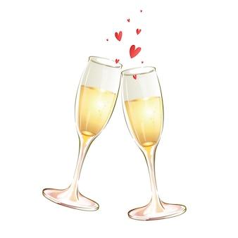 Dwa szklane kielichy z białym winem i serduszkami. świąteczny toast.