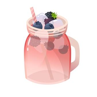 Dwa szklane słoiki z lemoniadą z owoców leśnych i kostkami lodu. ilustracja na białym tle.