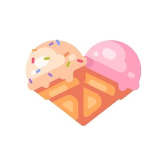 Dwa szyszki lodów w kształcie serca. waniliowe i wiśniowe lody płaskie ikona