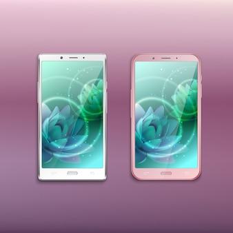 Dwa telefony komórkowe ostatniej generacji z obrazem lotosu