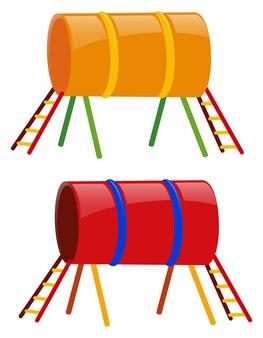 Dwa tunele w kolorze żółtym i czerwonym
