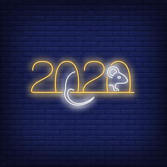 Dwa tysiące dwadzieścia znak neon ze szczurem
