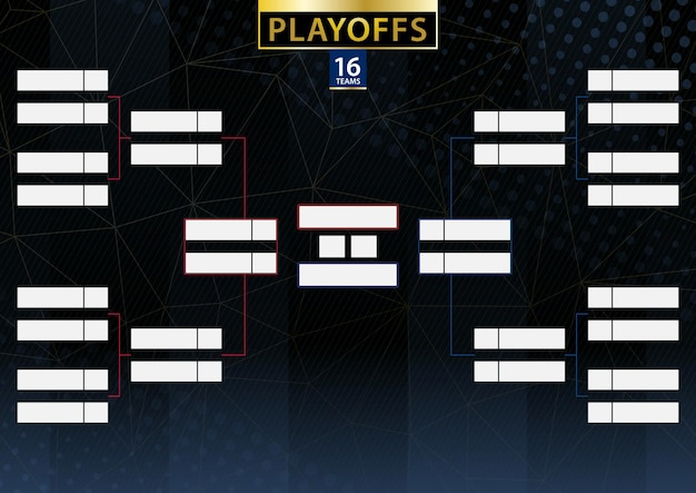 Dwa uchwyty turniejowe konferencyjne dla 16 drużyn lub graczy na ciemnym tle. harmonogram wektorów playoffów.