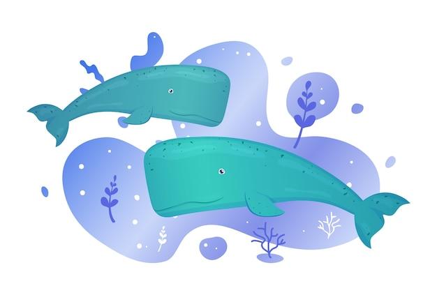 Dwa wieloryby w morzu. ryby oceaniczne. podwodne życie morskie. ilustracja.