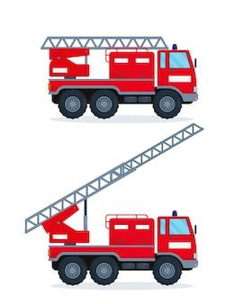 Dwa wozy strażackie na białym tle