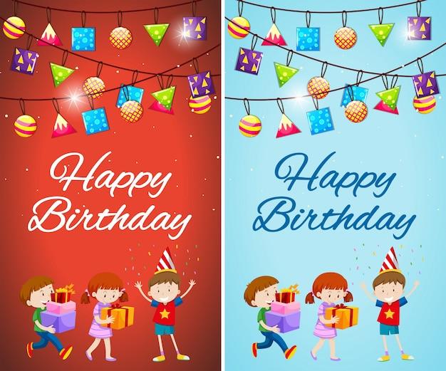 Dwa wzory szablon karty urodzinowej z dzie? mi i prezenty