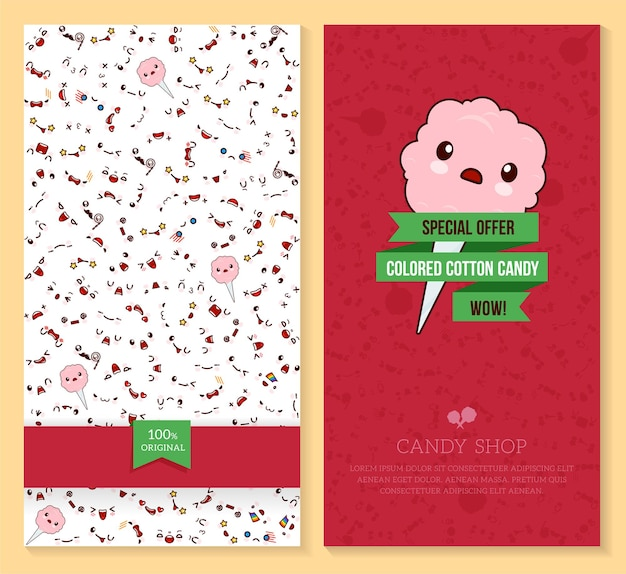 Dwa zabawne bilety z wzorem emocji kawaii i słodką watą cukrową