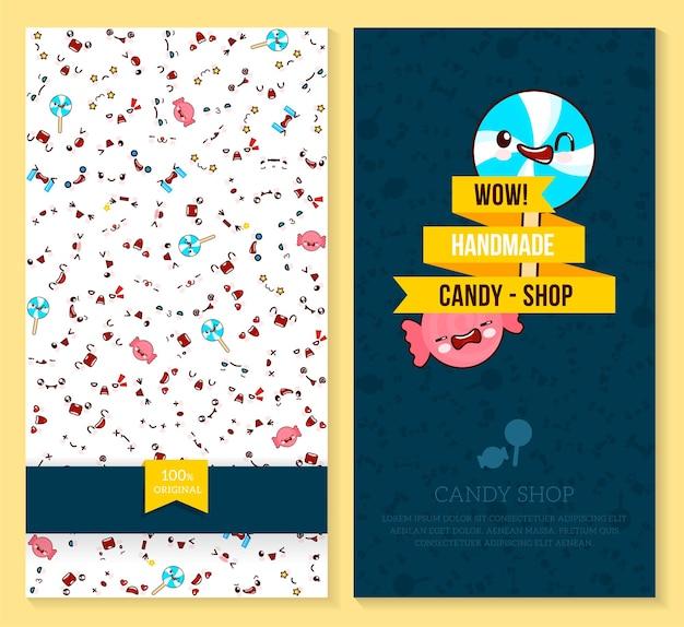 Dwa zabawne bilety z wzorem emocji kawaii i słodkimi cukierkami