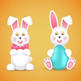 Dwa zabawne króliczki wielkanocne z kokardką i jajkiem. styl kreskówki.