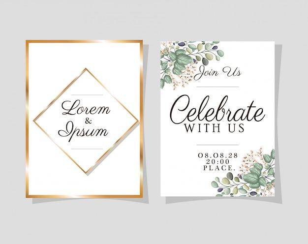 Dwa zaproszenia ślubne ze złotymi ramkami na niebieskim tle