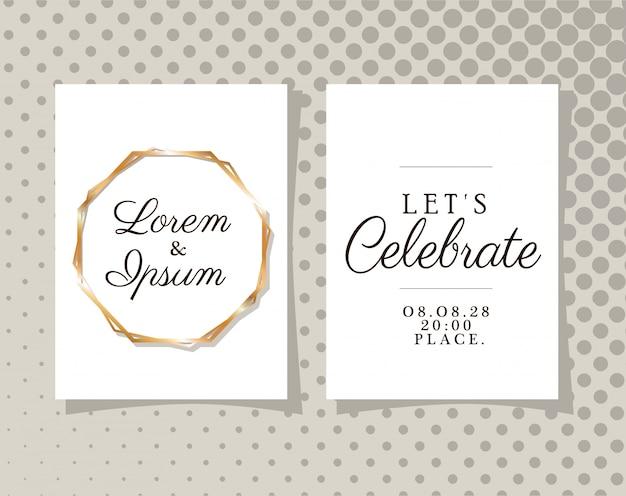 Dwa zaproszenia ślubne ze złotymi ramkami na szarym tle spiczastym