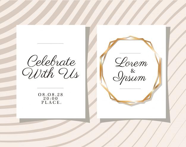 Dwa zaproszenia ślubne ze złotymi ramkami na szarym tle w paski