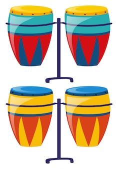 Dwa zestaw kolorowych bębnów