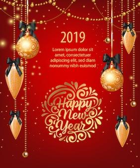 Dwadzieścia dziewiętnaście napis szczęśliwego nowego roku z girlandami i bombkami
