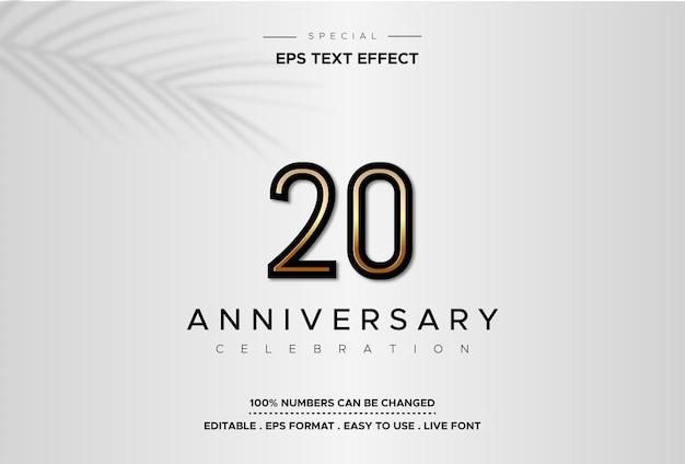 Dwadzieścia lat efekt tekstowy rocznica, na srebrnym tle