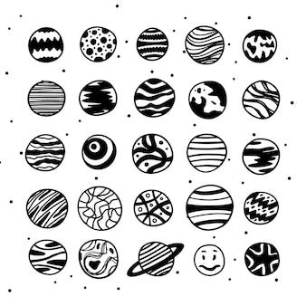 Dwadzieścia pięć naszkicowanych planet wektor doskonały do literowania gier i wszelkich dostosowań