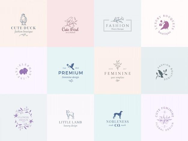 Dwanaście abstrakcyjnych kobiecych znaków wektorowych lub zestaw szablonów logo.