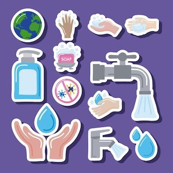 Dwanaście ikon globalnego dnia mycia rąk