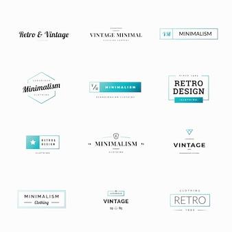 Dwanaście minimalnych retro i vintage wektora logo dla sklepów