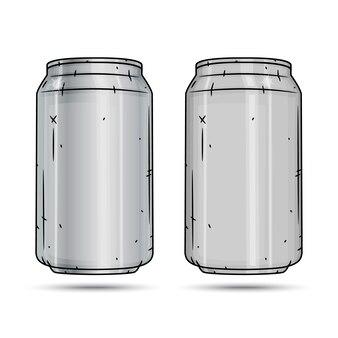Dwie aluminiowe puszki na białym tle