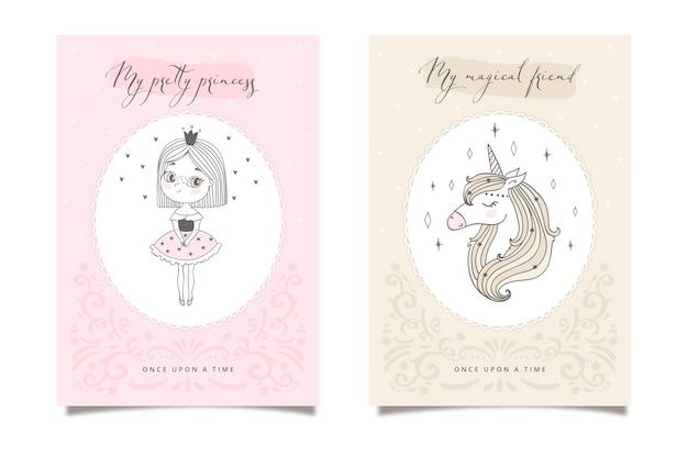 Dwie bajkowe karty z księżniczką i jednorożcem. kolor pastelowy
