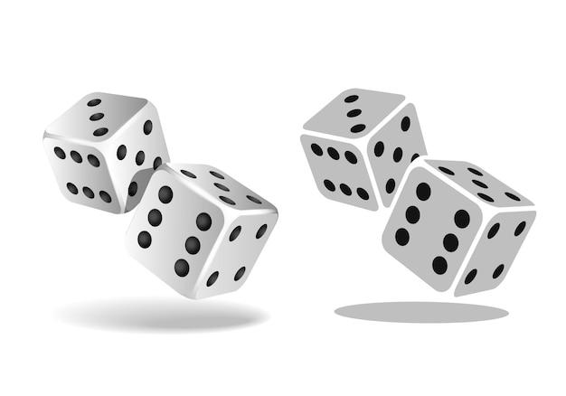 Dwie białe kości spadające na białym tle. koncepcja szablonu hazard kasyna. ilustracja wektorowa