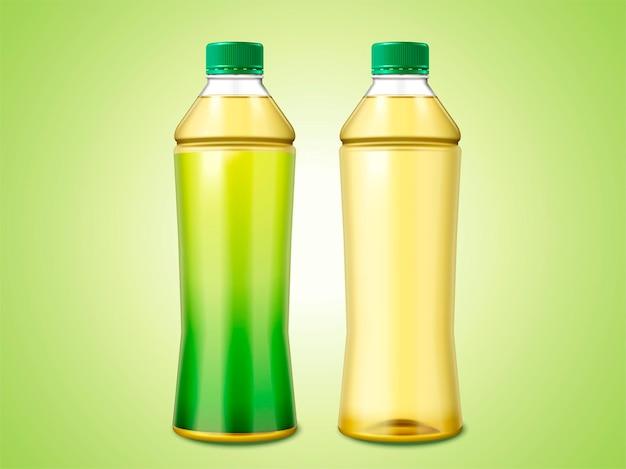 Dwie butelki zielonej herbaty, jedna z pustą etykietą, a druga bez