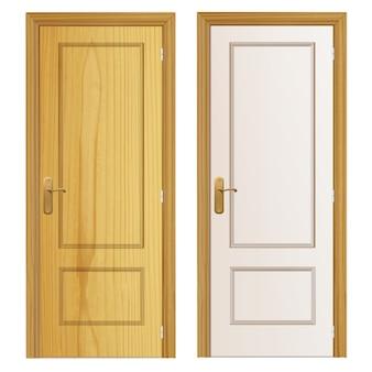 Dwie drewniane drzwi tle